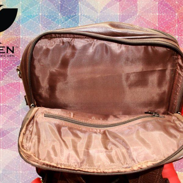 Last Pocket View of Brown Unisex Leather Shoulder Bag for Men and Women