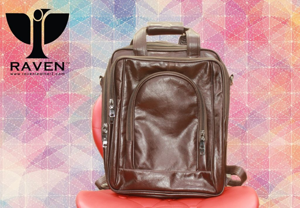 Brown leather unisex backpack front side