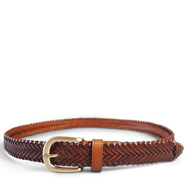 Dark Reddish Brown Color Braided Leather Belt For Women