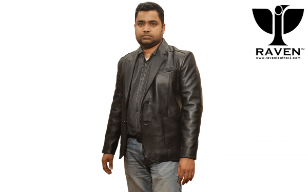 Mens Genuine Lwather jacket front side by RAVEN, Dhaka Bangladesh