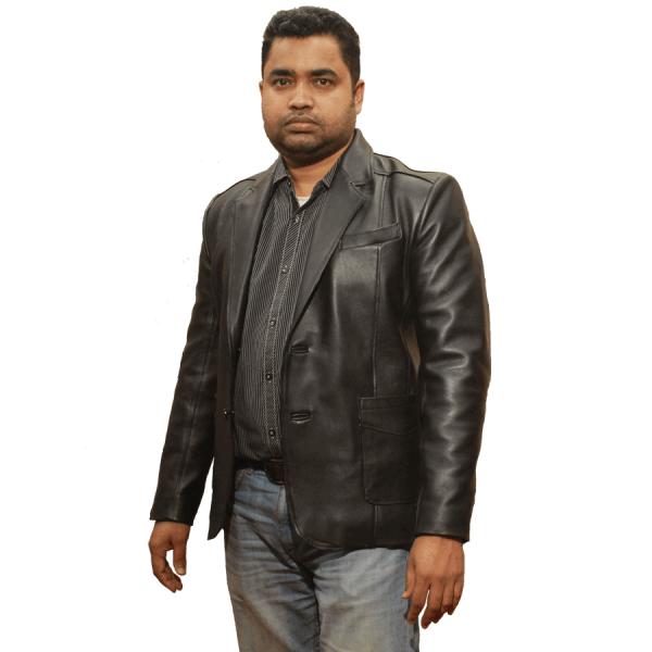Mens Genuine Lwather jacket front side by RAVEN, Dhaka Bangladesh