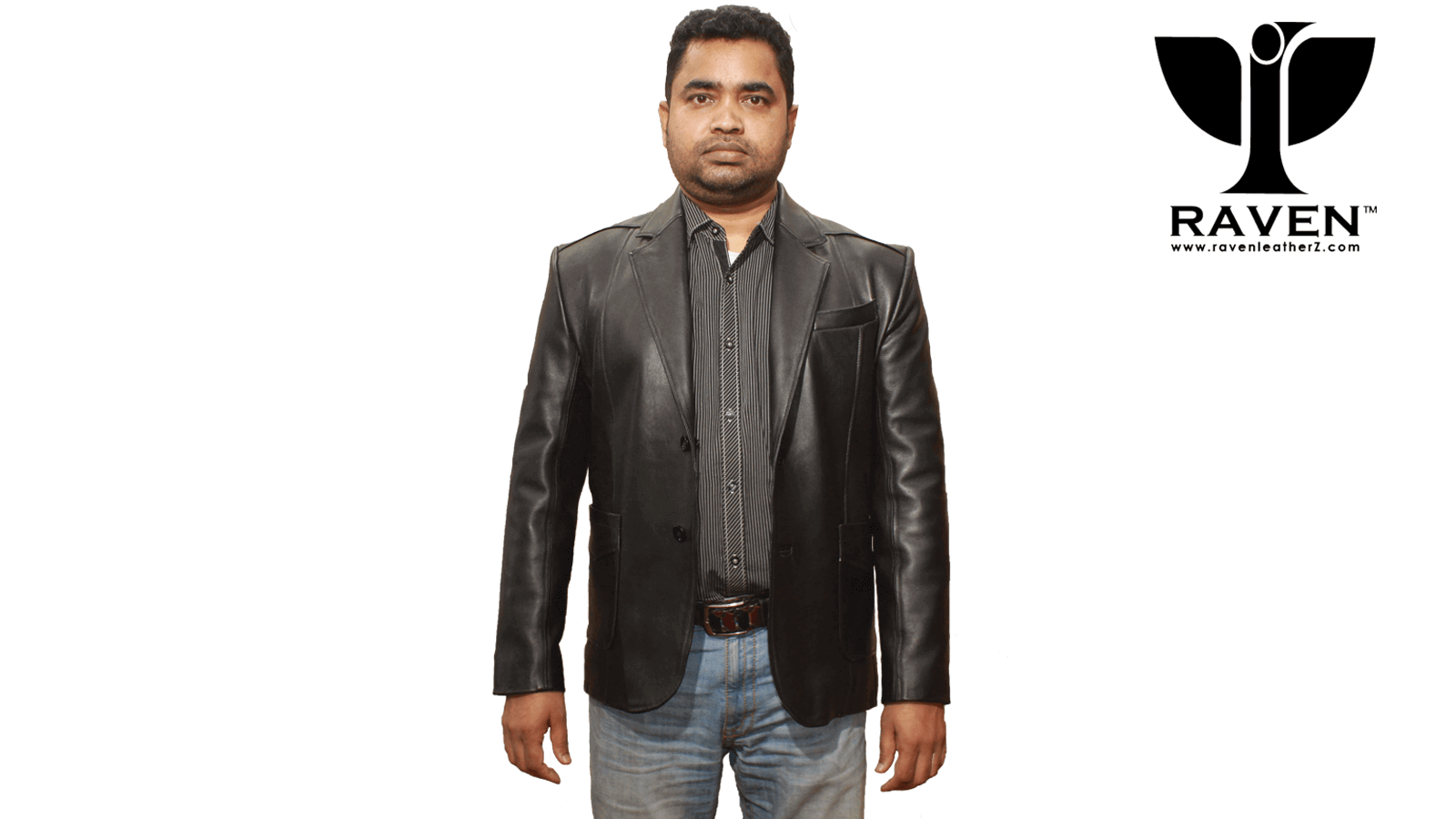 Men Genuine Leather jacket front side by RAVEN, Dhaka Bangladesh