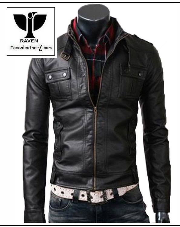 Types of Jacket in Bd: RC04 Men's Genuine Leather Belted Style Collar Jacket