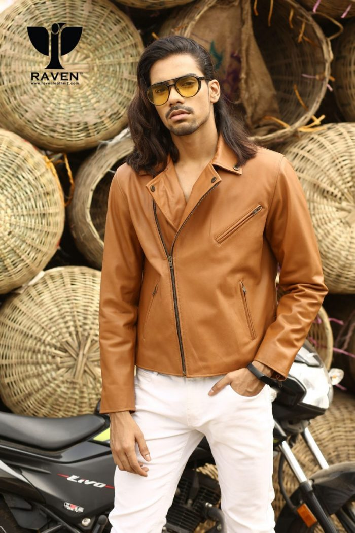 RW-09 Mustered Color Classic Biker Jacket for Men