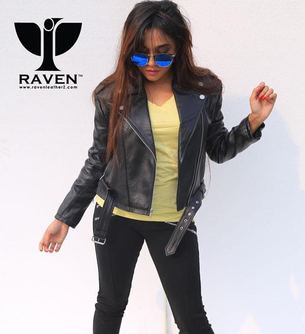 Ladies-Black-Cropped-Biker-Jacket-with-Belt-BD