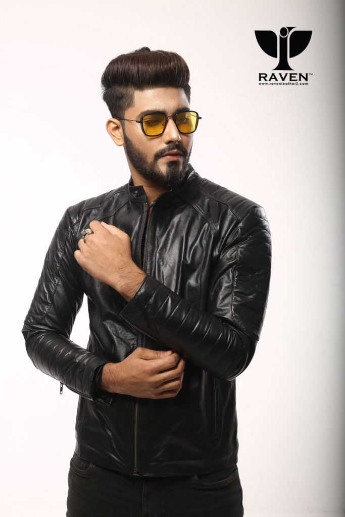 RE-06-Black Full Arm Quilted Jacket For Men