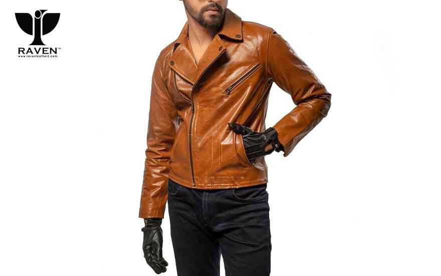 RW-09 Duel Tone Cropped Biker Jacket For Men