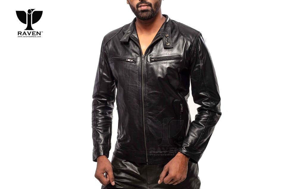 RAVEN RA-20 Mens Genuine Leather Slim Fit Biker Jacket