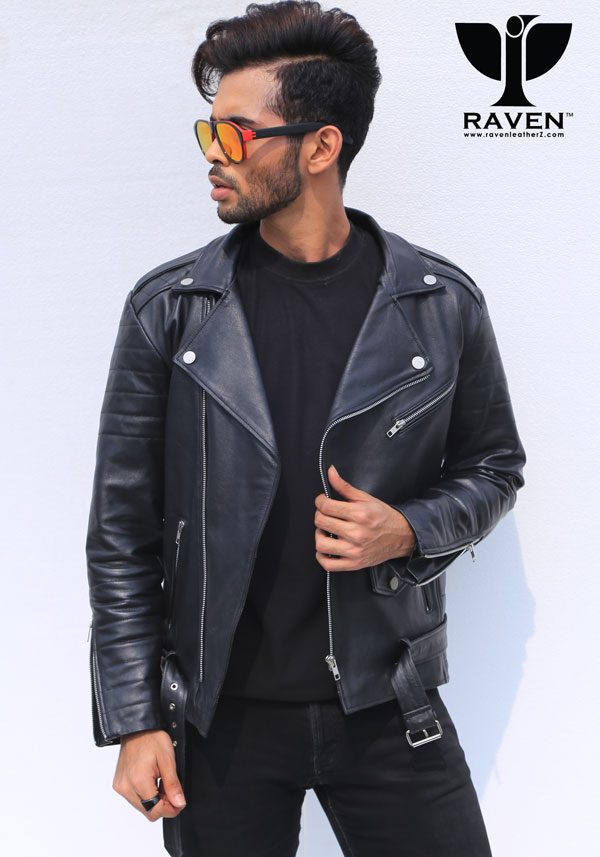 Men-Black-Cropped-Biker-Jacket-with-Belt