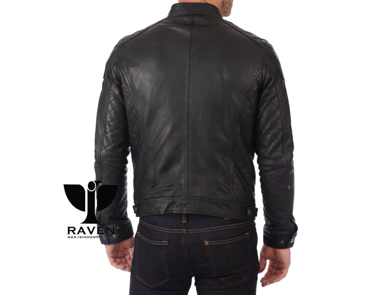 Quilted Motor Cycle Rider Jacket Back Side