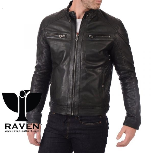 Quilted Motor Cycle Rider Jacket Front Side