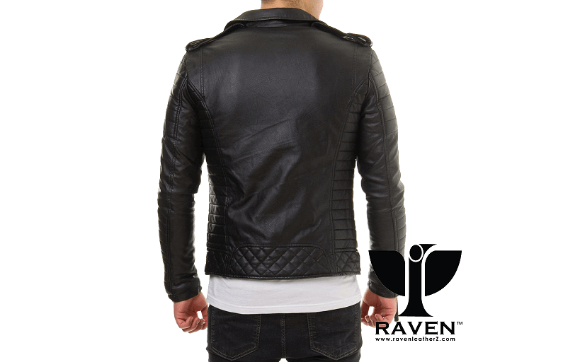 Slim Fit Hybrid Biker Jacket Back Side