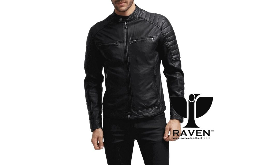 Slim Fit Quilted Moto Rider Jacket Front Side