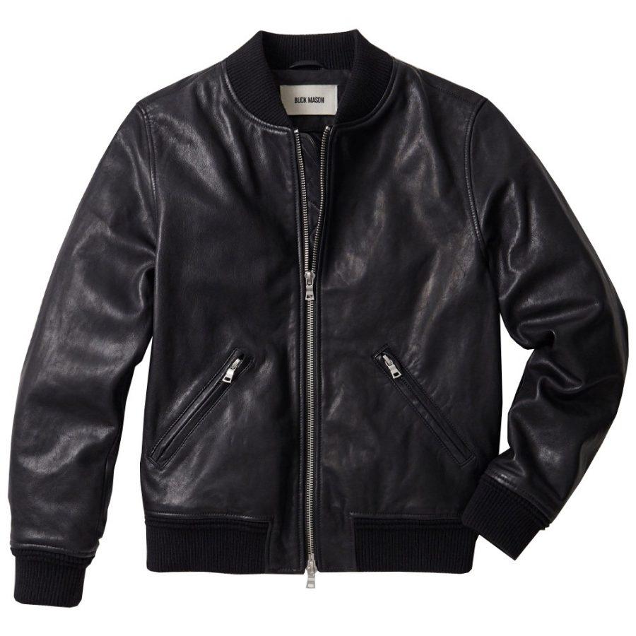 Black Color Genuine Leather Bomber Jacket For Men in BD