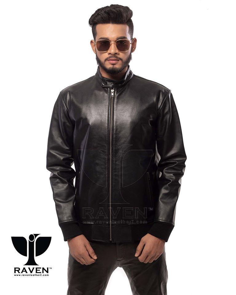 Black Color Genuine Leather Bomber Jacket For Men