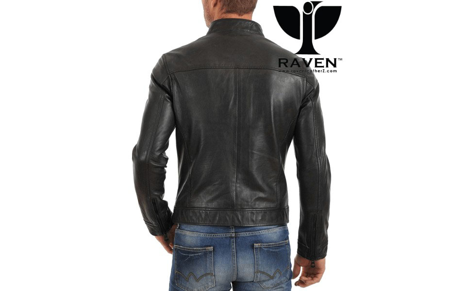 Black Slim Fit Racing Jacket Back Side