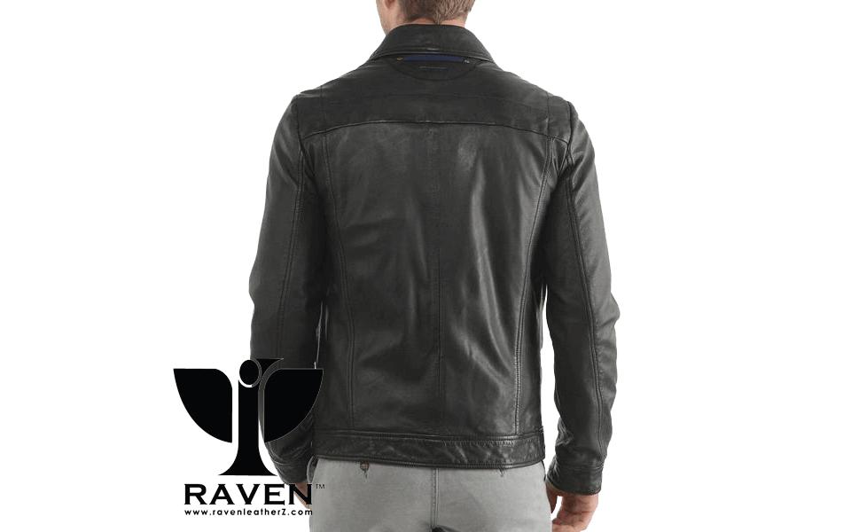Classic Shirt Style Biker Jacket Back Side