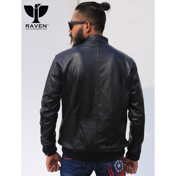 Cropped Black-Stylish-Bomber-Jacket-Back-Side
