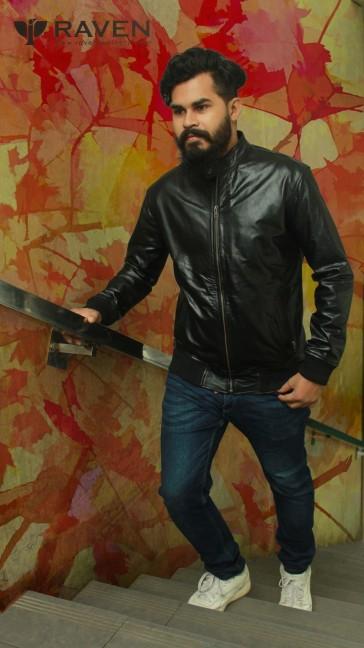 Genuine Leather Black Bomber Jacket 2