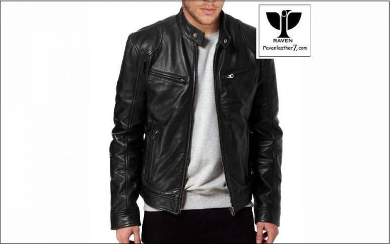 This slim fit biker jacket features a stand collar with throat tab and snaps buttons at hem for the structured fit. It has a piping work which starts from the shoulder and goes through the middle of both sleeves. It also has two zipped chests and front pockets with two zipped vertical bottom pockets. It also has an inner pocket ( Winter 2018-2019 )