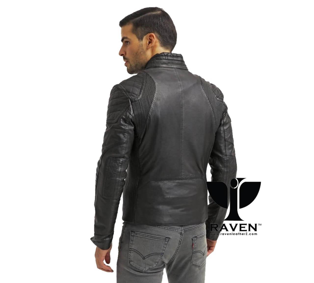 Slim Fit Black Quilted Jacket Back Side