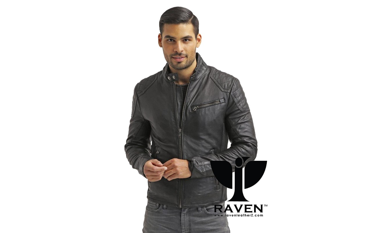 Winter 2018-2018 Slim Fit Black Quilted Jacket Front Side