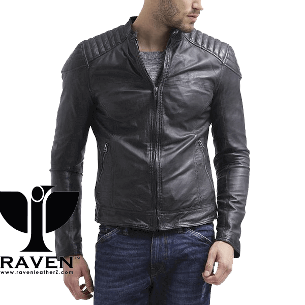 Slim Fit Quilted Shoulder Jacket Front Side
