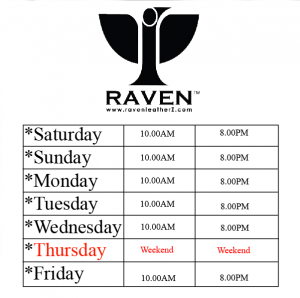 Visiting Hours Charts of RAVEN