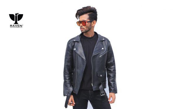 Black-Cropped-Biker-Jacket-With-Belt-Front-Side-2