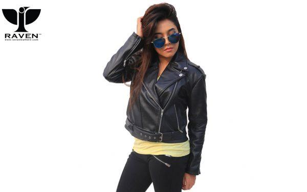 NW-07-Black-Cropped-Ladies-Biker-Jacket-with-Belt-2