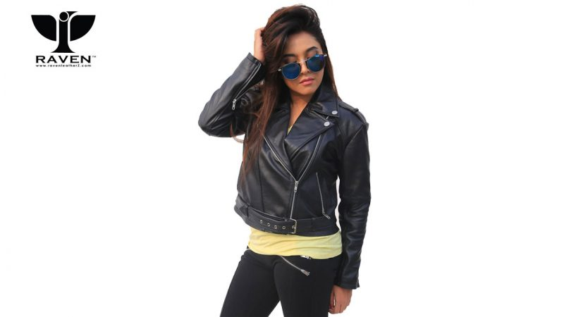 NW-07-Black-Cropped-Ladies-Biker-Jacket-with-Belt-2