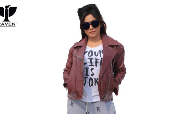 NW-08 Wine Color Classic Ladies Biker Jacket