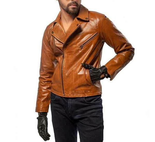 RW-09 Duel Tone Cropped Biker Jacket For Men
