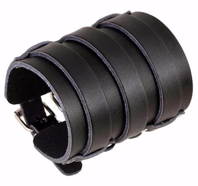 Black-Multiple-Belt-Leather-Wristband-for-Men-in-Bangladesh