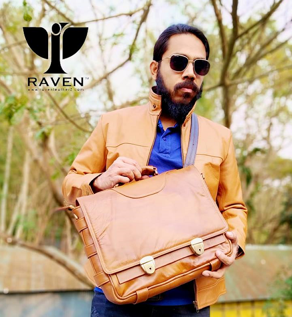 Brown-Medium-Messenger-bag-RMMB-02-Front-Side-with-Custom-Made-Leather-Jacket