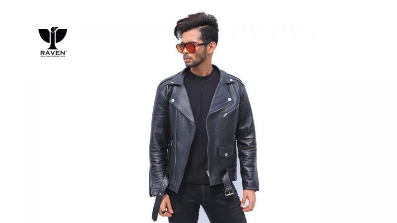 Black-Cropped-Biker-Jacket-With-Belt-Front-Side