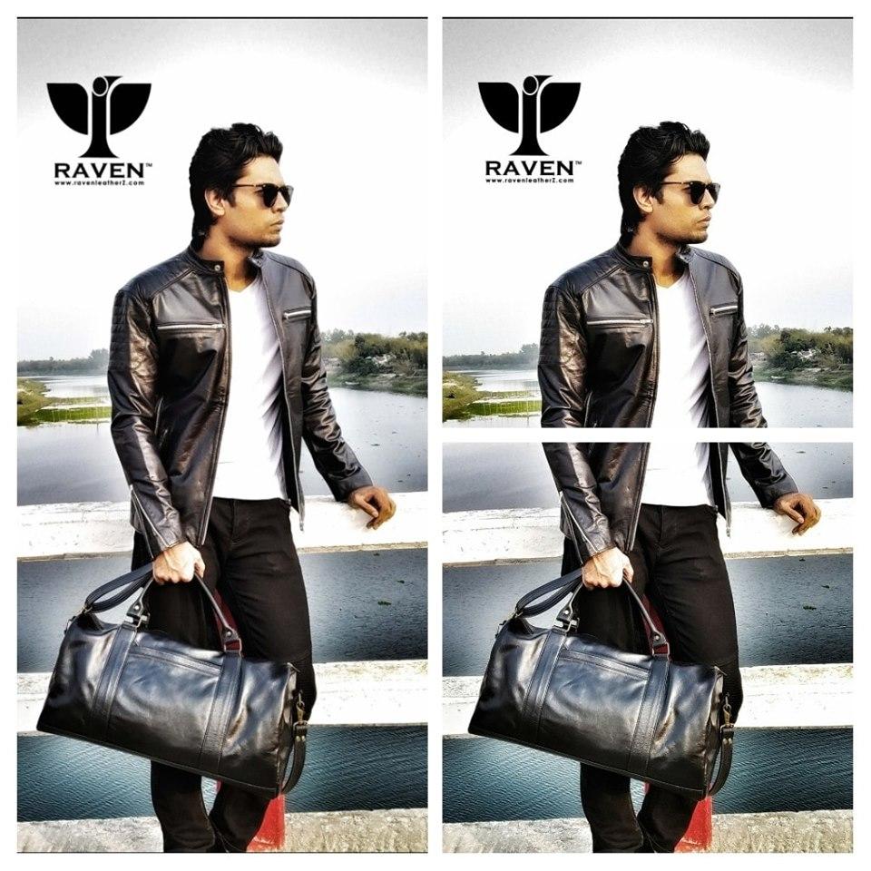 Black-Genuine-Leather-Medium-Duffel-Bag-Front-Side