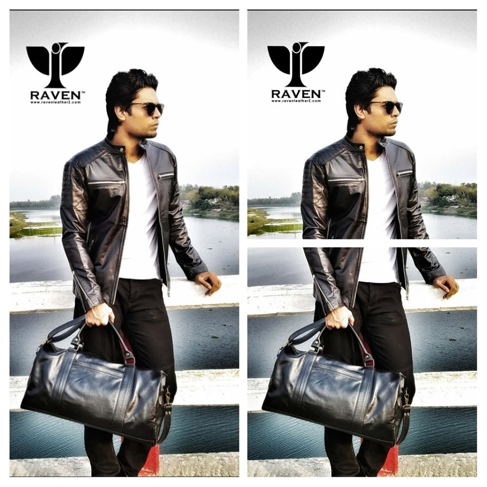 Black Motor Cycle Rider Jacket with  Black-Genuine-Leather-Medium-Duffel-Bag-Front-Side