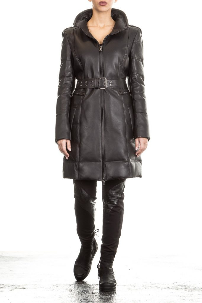 Black-Quilted-Ladies-Leather-Overcoat-in-Bangladesh-Front-side