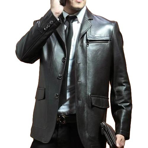 Black-Slim-Fit-Leather-Coat-For-Men-in-BD