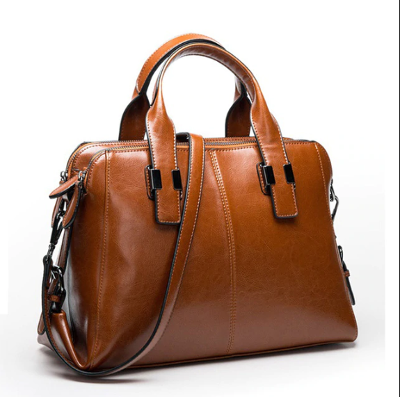 Dark-Tan-Color-Ladies-Leather-Hand-Bag-in-Bangladesh