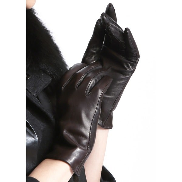 Deep-Chocolate-Color-Leather-Hand-Gloves-For-Women-in-BD