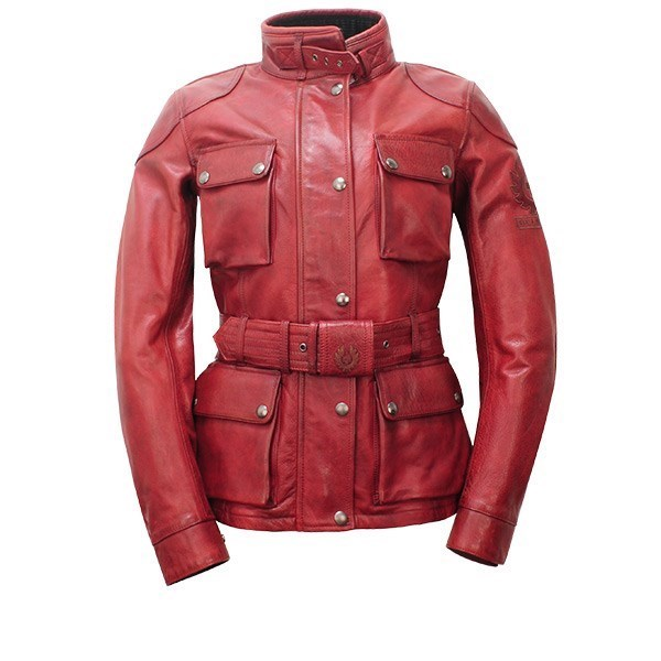 Duel Tone Genuine Leather Ladies Field Jacket with Waist Belt and High Neck