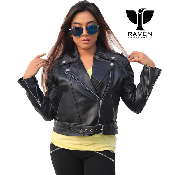 Najmee Jannat wears NW-07 Ladies Biker Jacket from RAVEN