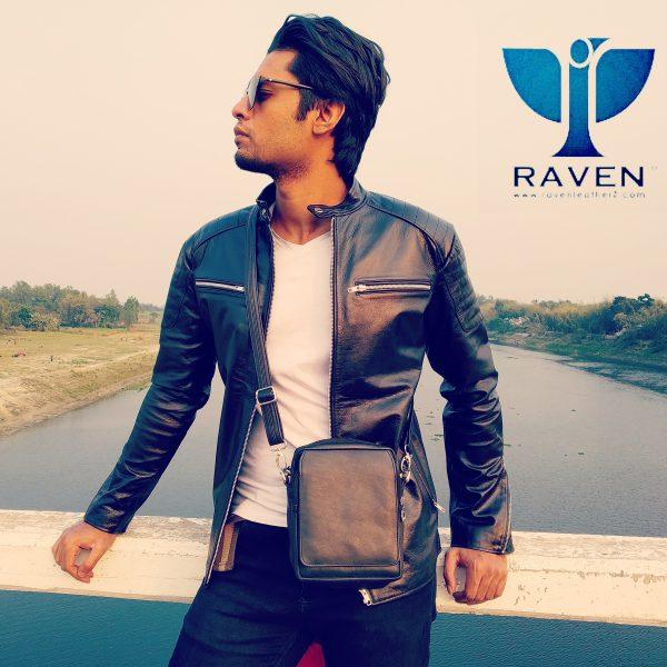 Black Slim Fit Rider Jacket For Men
