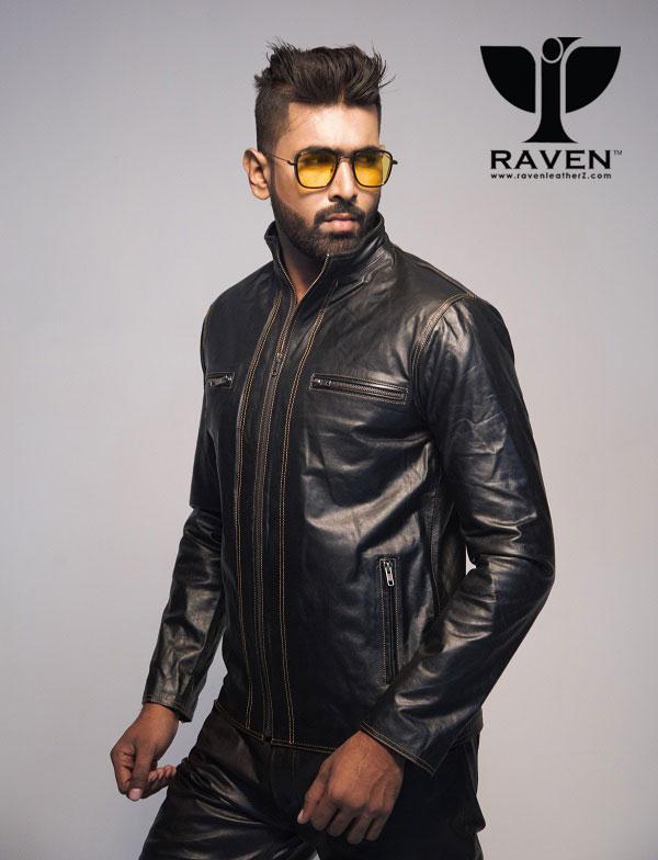 Slim-Cut-20 Stitching Style Genuine Leather Jacket