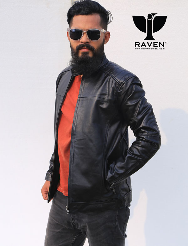 Slim-Fit-Quilted-Shoulder-motor-rider-Jacket