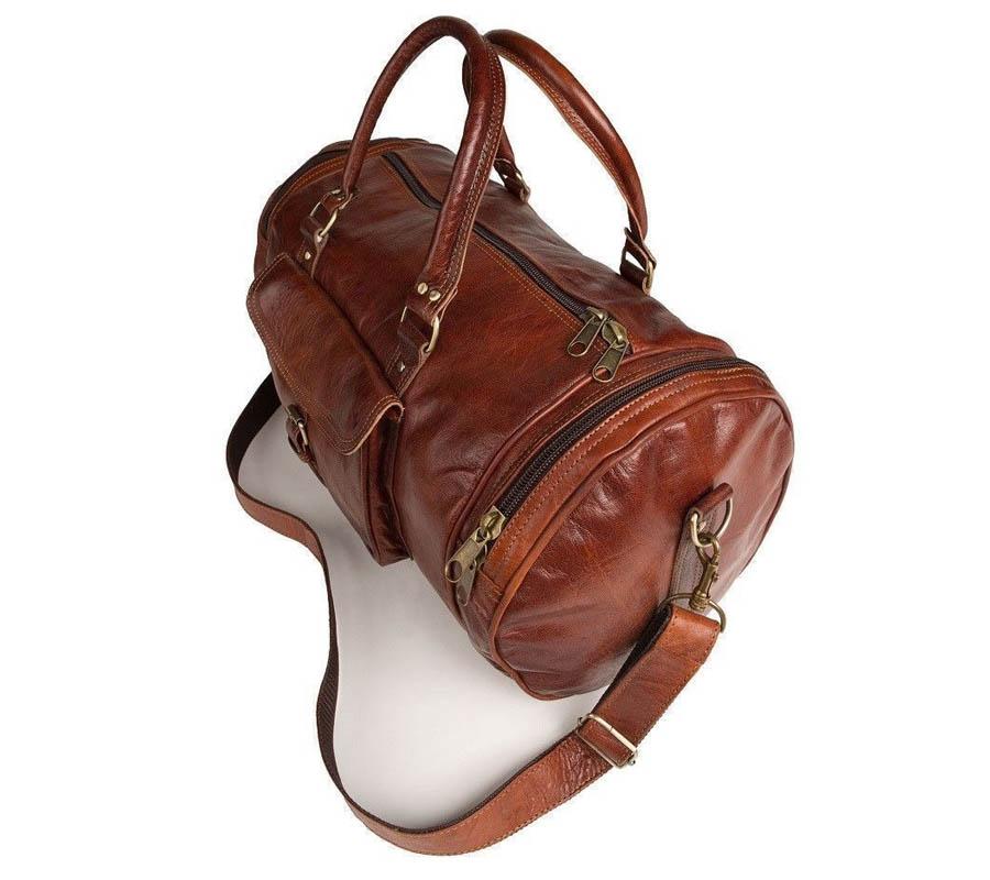 Vintage-Look-Genuine-Leather-Gym-Bag-for-Men-in-BD