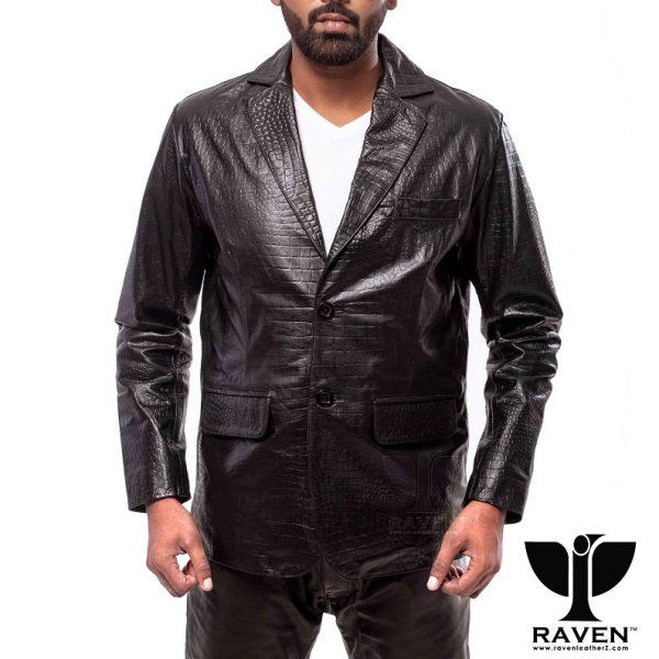 RBC- 09 Black Slim Fit Crocodile Ambushed Blazer Front Side