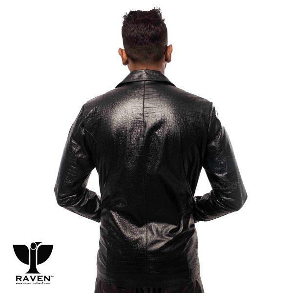 RBC- 09 Black Slim Fit Crocodile Ambushed Blazer Back Side